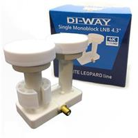 DI-WAY LNB MONOBLOCK  SINGLE 0,1dB 4,3st, WHITE LEOPARD LINE